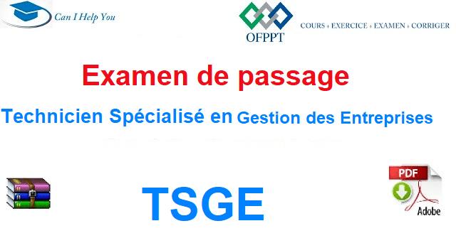 examen de passage + corriger TSGE (pdf) Gestion des Entreprises (pour telecharger )