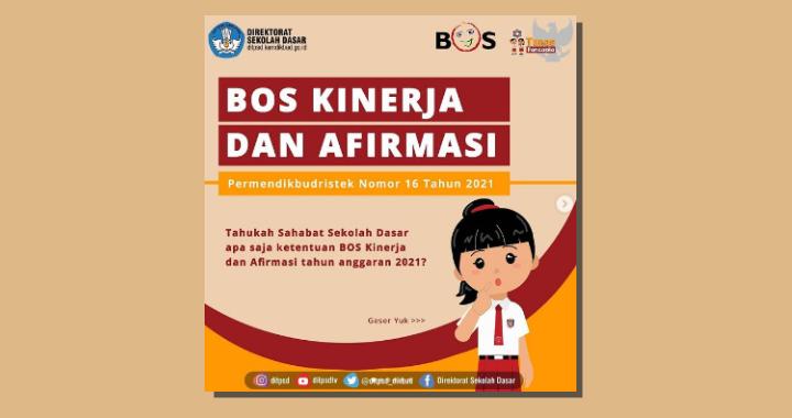 Permendikbudristek Nomor 16 Tahun 2021 Tentang Juknis Dana BOS Kinerja dan Dana BOS Afirmasi Tahun 2021