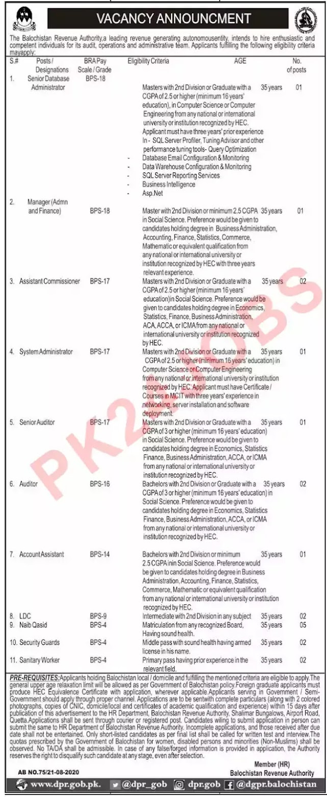 balochistan-revenue-authority-jobs-august-2020-job-advertisement-in-newspaper