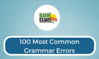 100 Most Common Grammar Errors - Download PDF | BankExamsToday