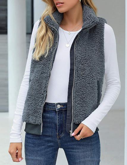 Cheap Grey Faux Fur Vest Sleeveless Waistcoat Jacket For Women