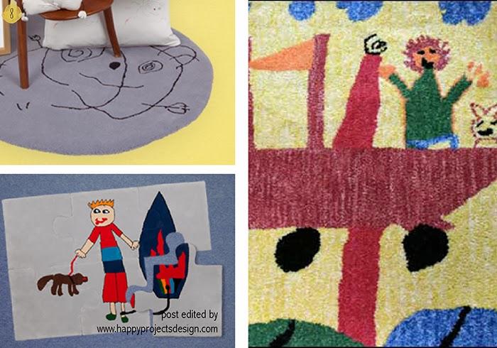 maneras creativas de regalar dibujos de niños: alfombras personalizadas