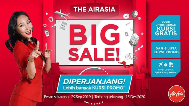 #AirAsia - #Promo Big Sale Kursi Gratis & 6 juta kursi promo (s.d 29 Sept 2019)