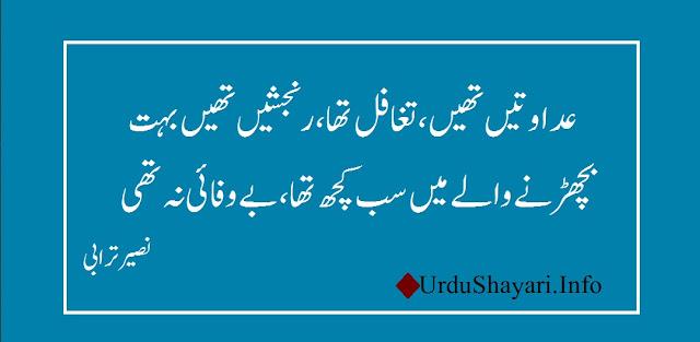 best urdu shayari Adawatain thien Taghaful tha 2 lines sad poetry by naseer turabi ghazal