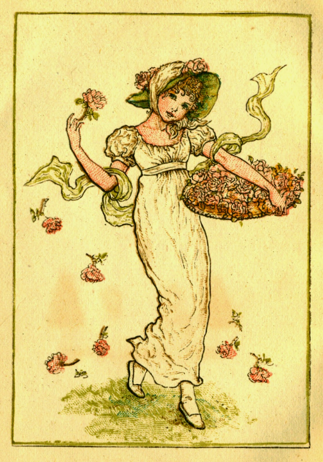 Vintage drawing of a girl with a large basket of flowers.