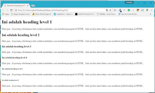 Membuat Judul/Heading di HTML