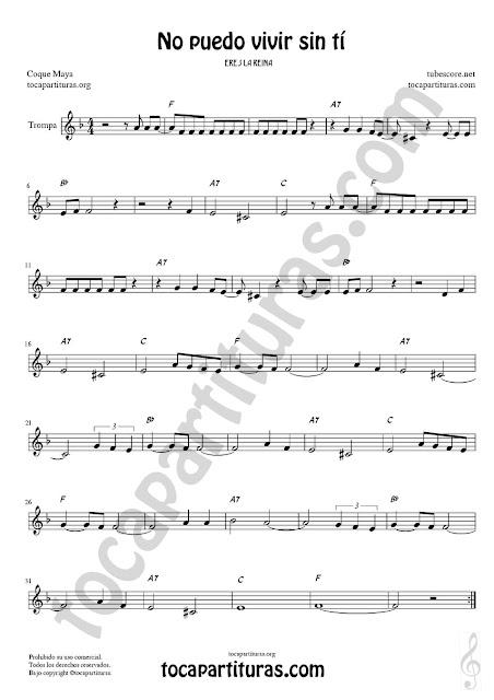 Trompa y Corno Francés Partitura de No puedo vivir sin tí en Mi bemol Sheet Music for French Horn Music Scores