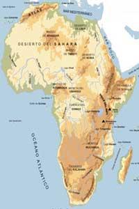 Mapa físico de África con las cadenas montañosas del continente