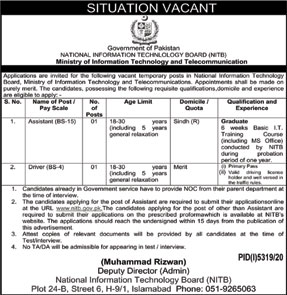 Latest Jobs 2021 in National Information Technology Board (NITB)
