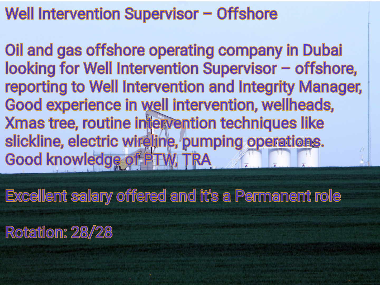 Oil and Gas Jobs: Well Intervention Supervisor, 28/28 Rotation
