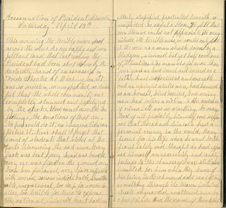 Diary entry for April 13, 1865, quoted at length