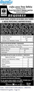 Vizag Steel Plant RINL Junior Trainee, Medical Officer jobs