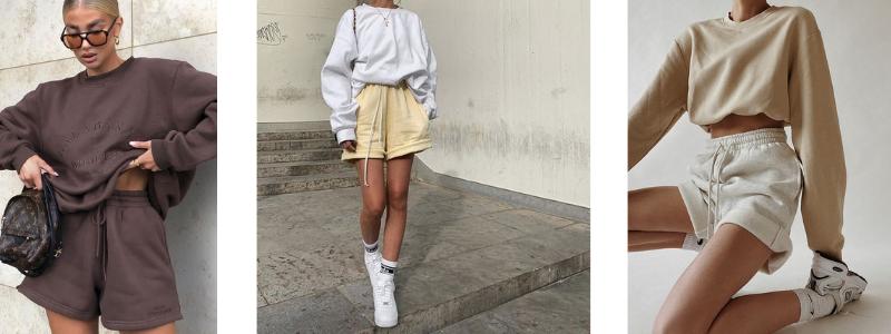 sweatshort combineren outfit voorbeelden trend zomer lente 2021