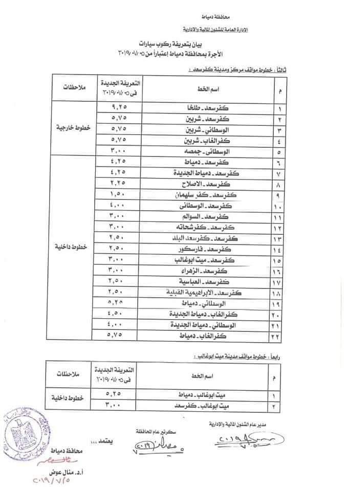 ننشر التعريفه الجديده للمواصلات داخل وبين المدن المصرية بعد زياده اسعار الوقود بجميع المحافظات FB_IMG_1562330231957