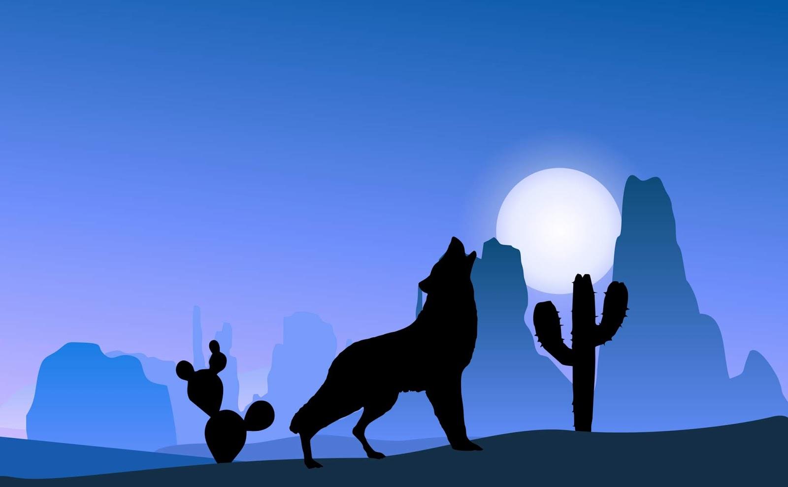 Illustration of wolf standing in moonlight