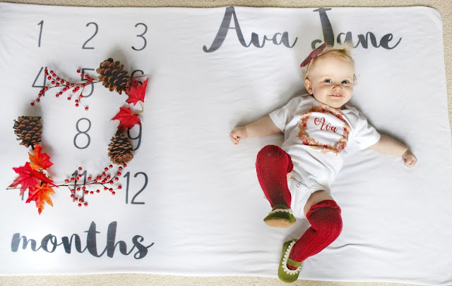 ava jane baby girl spring month to month monthly milestone blanket pregnancy ideas 8 months old child model knee high socks fall autumn customized onesie