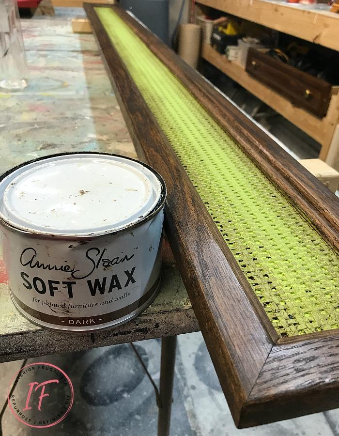 DIY Monogram Wall Decor Dark Wax Rattan Headboard
