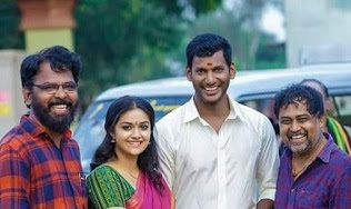 Keerthy Suresh with Vishal and Lingu Samy