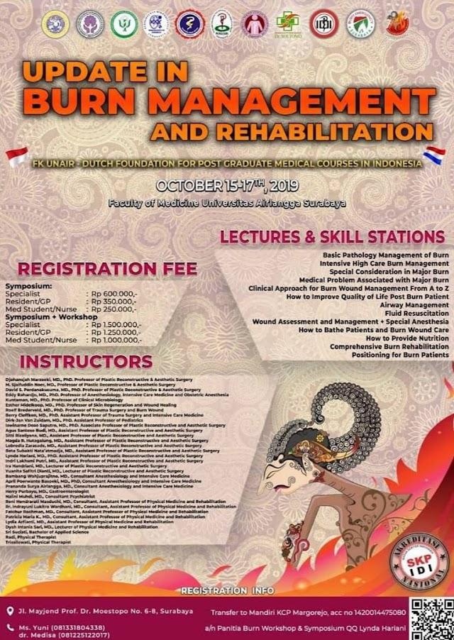 WEBINAR (WEB SEMINAR)   Burn Management and Rehabilitation 15-17 Oktober 2019