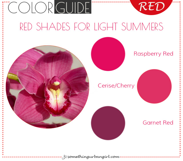 The best red color shades for Light Summer seasonal color women