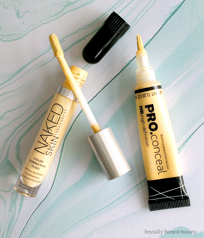 Urban Decay Color Correcting Fluid vs. L.A. Girl HD Pro Conceal in Yellow