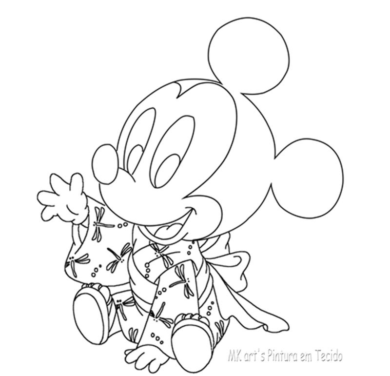 Mk Art S Pintura Em Tecido Pintura Em Fralda Mickey Baby