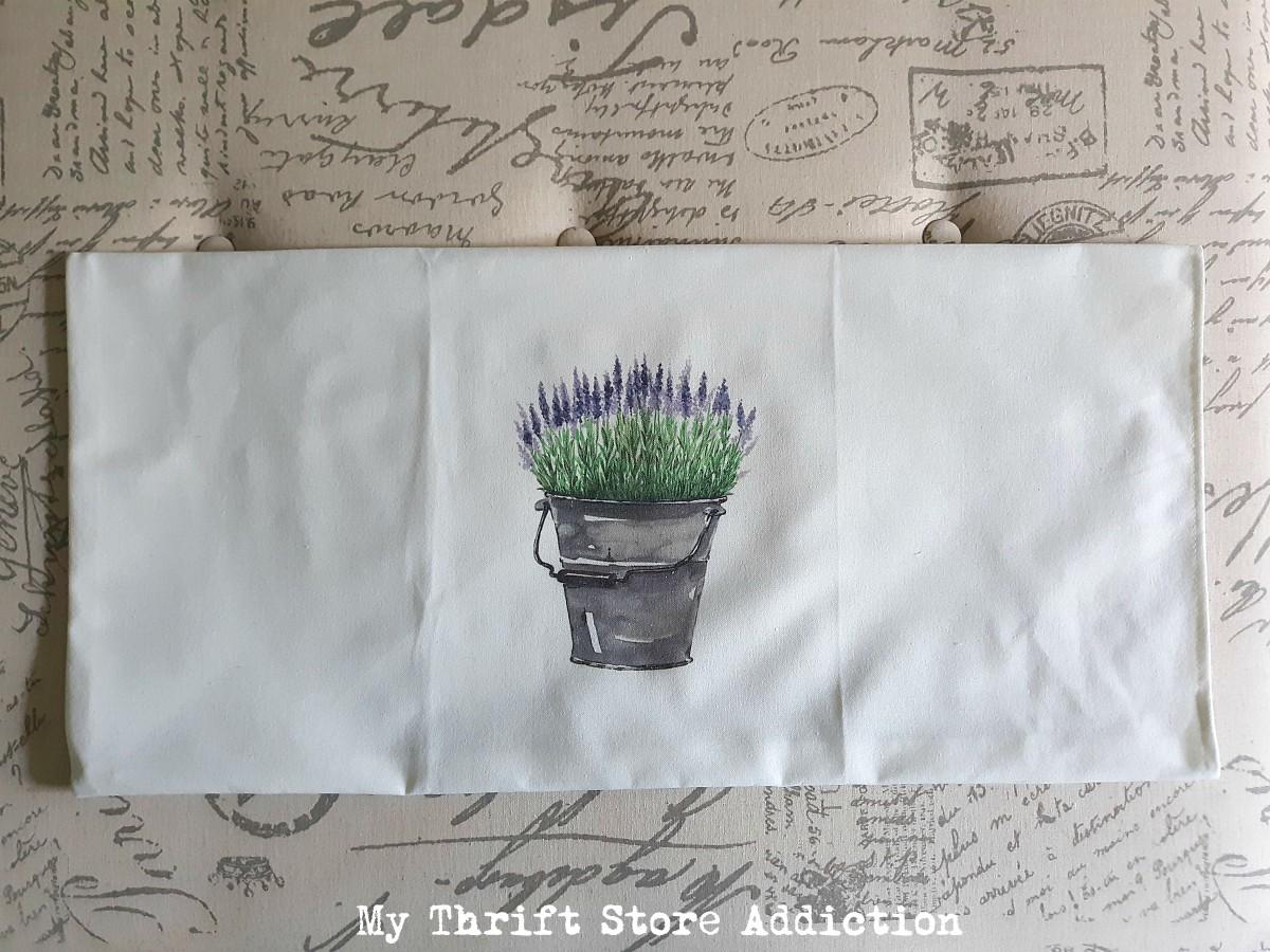 farmhouse pillow repurposed from flour sack towel