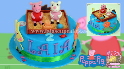 tarta personalizada fondant modelado peppa pig susi sheep cerdita ovejita laia's cupcakes puerto sagunto