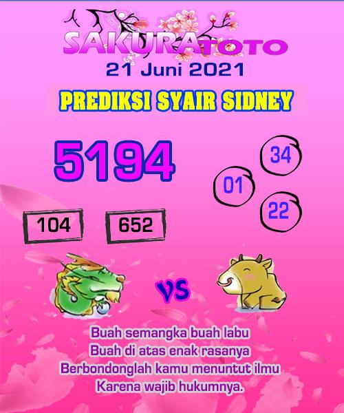 Syair Sakuratoto Sidney Senin 21 Juni 2021