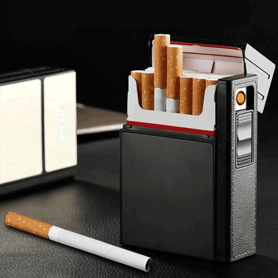 علبة سجائر مزودة بى ولاعة شحن يو اس بى تأخذ ٢٠ سيجارة
