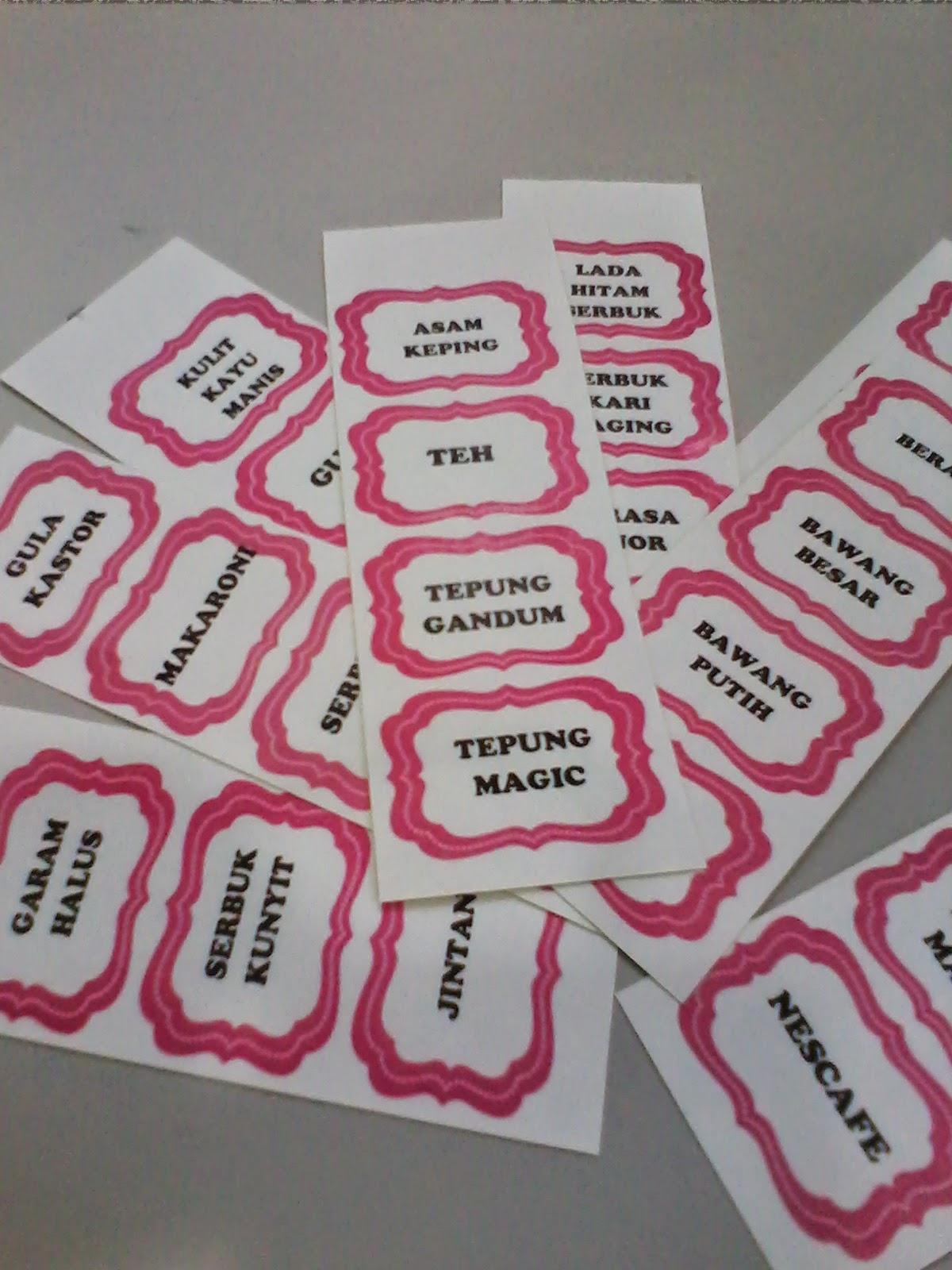 Label Ni Aku Print Atas Ketas Stiker Tapi Nak Bagi Berkilat Lekat Ablk Silotape Jernih Kat Bekas Letak Dapur