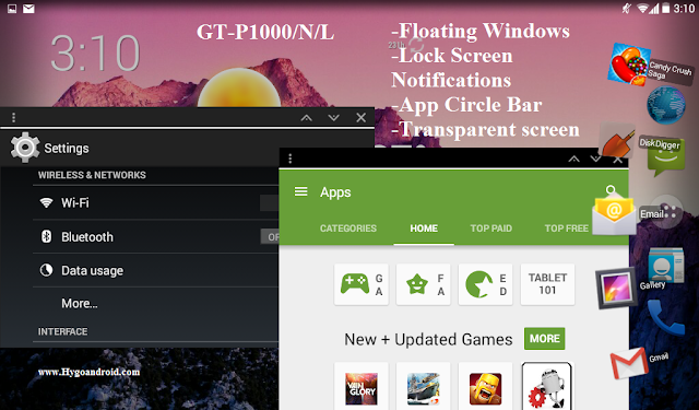 ROM For GT-P1000/N/L With Floating Windows + Lock Screen Notifications + App Circle Bar + Transparent screen