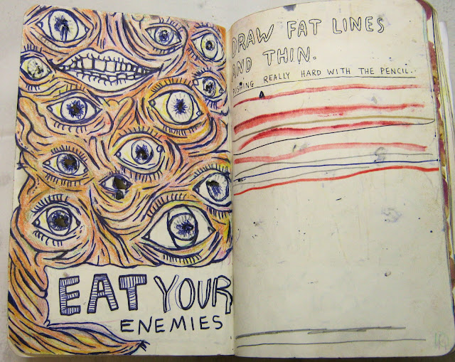 """Another one of the classic pages, """"Poke holes using a pencil."""" The first page is watercolor and India ink while the second page is colored pencil. On the second image, I gouged the outline into the paper with a pen so that the other side has a cool embossed texture to it. I totally love that kind of stuff."""