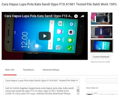 Cara Hapus Pola Kata Sandi yang lupa Oppo F1S A1601 Tested 100%