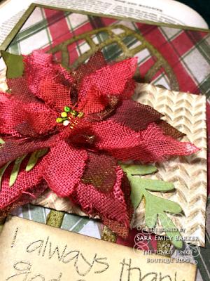 Sara Emily Barker https://sarascloset1.blogspot.com/2020/11/i-always-thank-god-for-you.html #timholtz #sizzix #catherdralwindow #knitted3Dembossing #elegant poinsettia Mixed Media Card 4