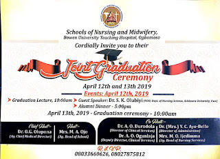 BUTH Ogbomosho Joint Graduation Ceremony Schedule 2019