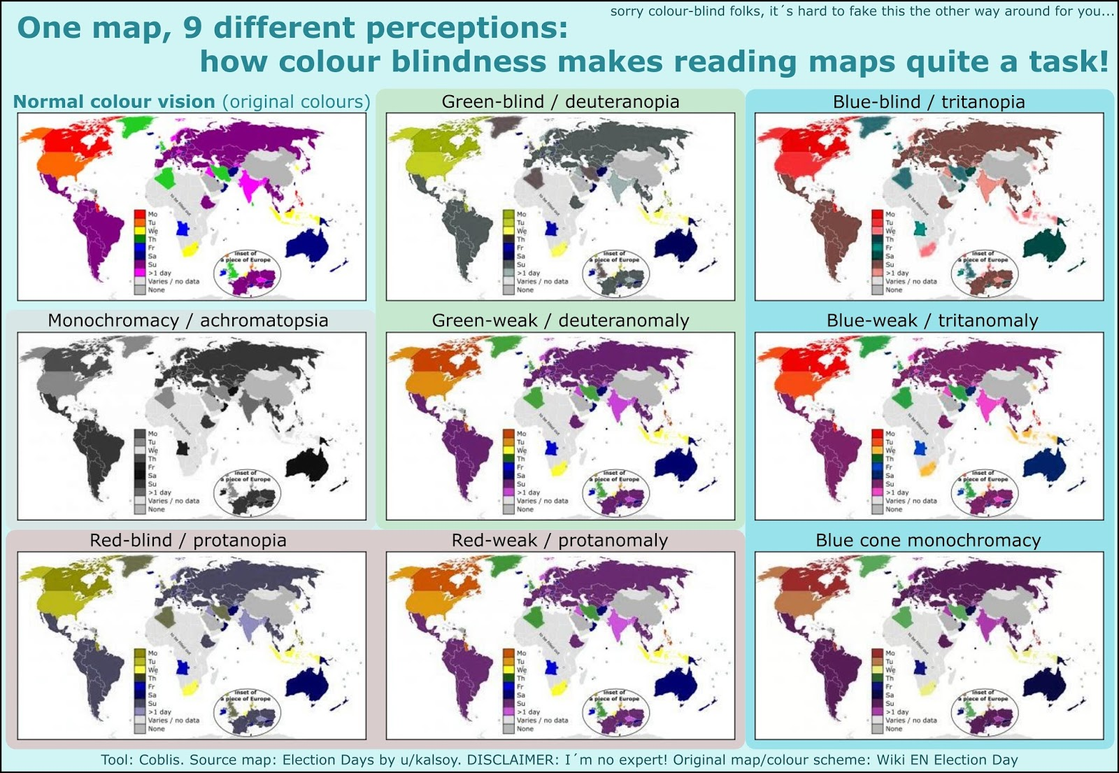 Through the eyes of a colour-blind: Simulating how their world maps are coloured