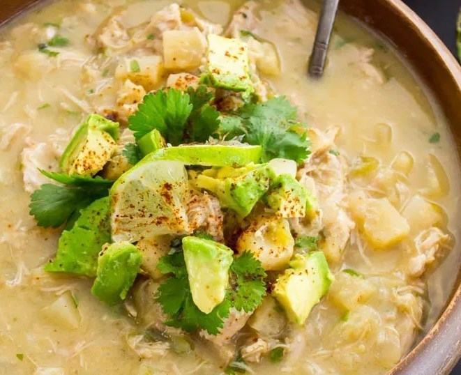 Instant Pot Green Chile Chicken Chowder #healthy #lunch