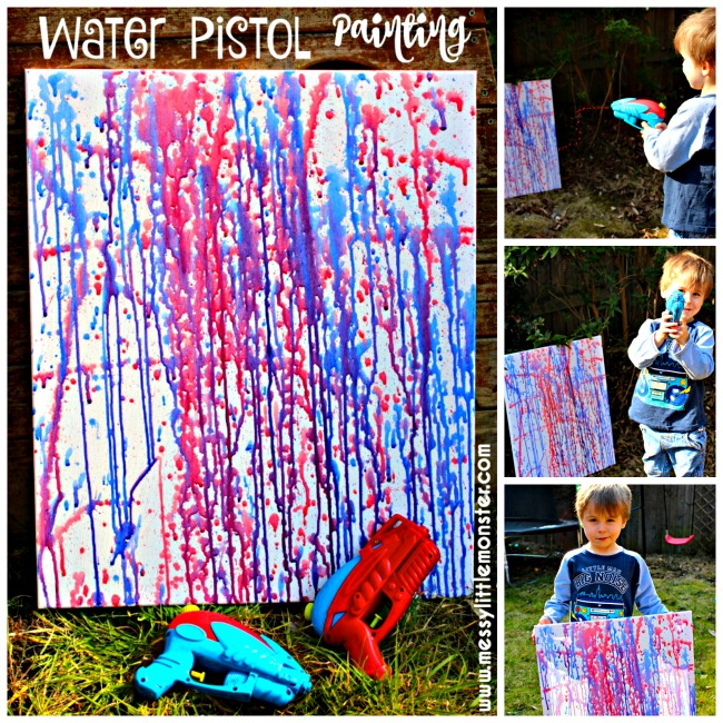 Water pistol (squirt gun) painting is a fun outdoor art activity for kids. Perfect for the Summer months and Inspired by famous artist Jackson Polluck