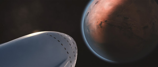 A rendering of the Interplanetary Transportation System spaceship nearing Mars. Image Credit: SpaceX