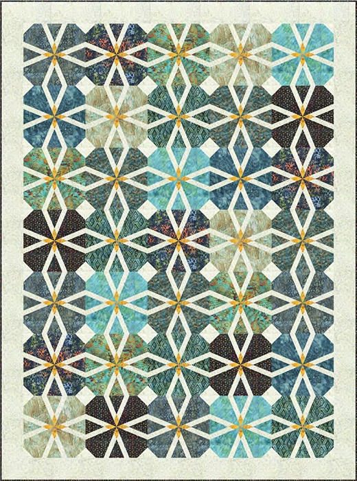 Starlit Rose Quilt Free Pattern Designed by Wendy Sheppard for Anthology Fabrics