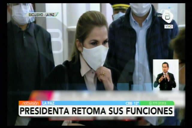 """Presidenta Áñez ve insensibilidad y una actitud """"canalla"""" en el bloqueo de recursos en la Asamblea Legislativa"""