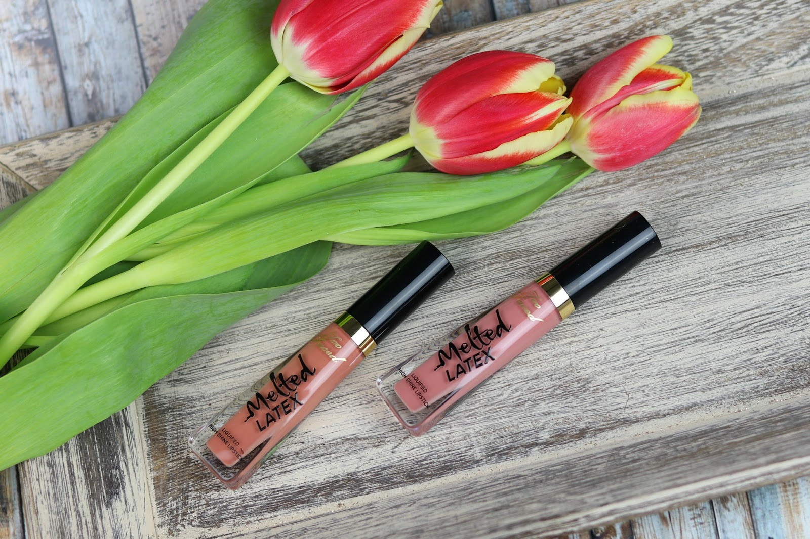 amu, beauty blogger, lidschatten, lidschattenpalette, lippenstift, look, makeup, melted latex liquified high shine lipstick, melted matte, review, sweet peach glow rouge, sweet peach palette, too faced,