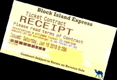 Le Chameau Bleu - Blog Voyage Block Island - Ticket du Ferry pour Block Island