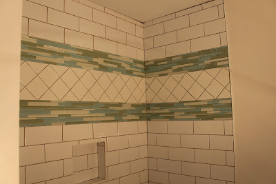 Tile installation complete for a shower