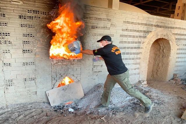 Polícia Civil incinera 542 quilos de drogas apreendidas na Operação Narco Brasil