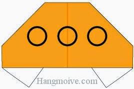 Bước 7: Vẽ cửa sổ để hoàn thành cách xếp đĩa bay bằng giấy origami đơn giản.