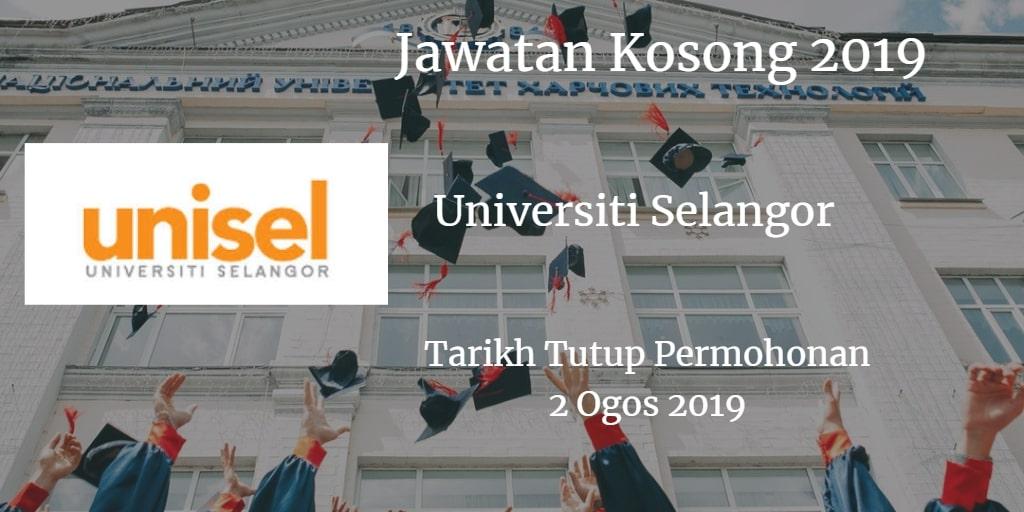 Jawatan Kosong UNISEL 02 Ogos 2019