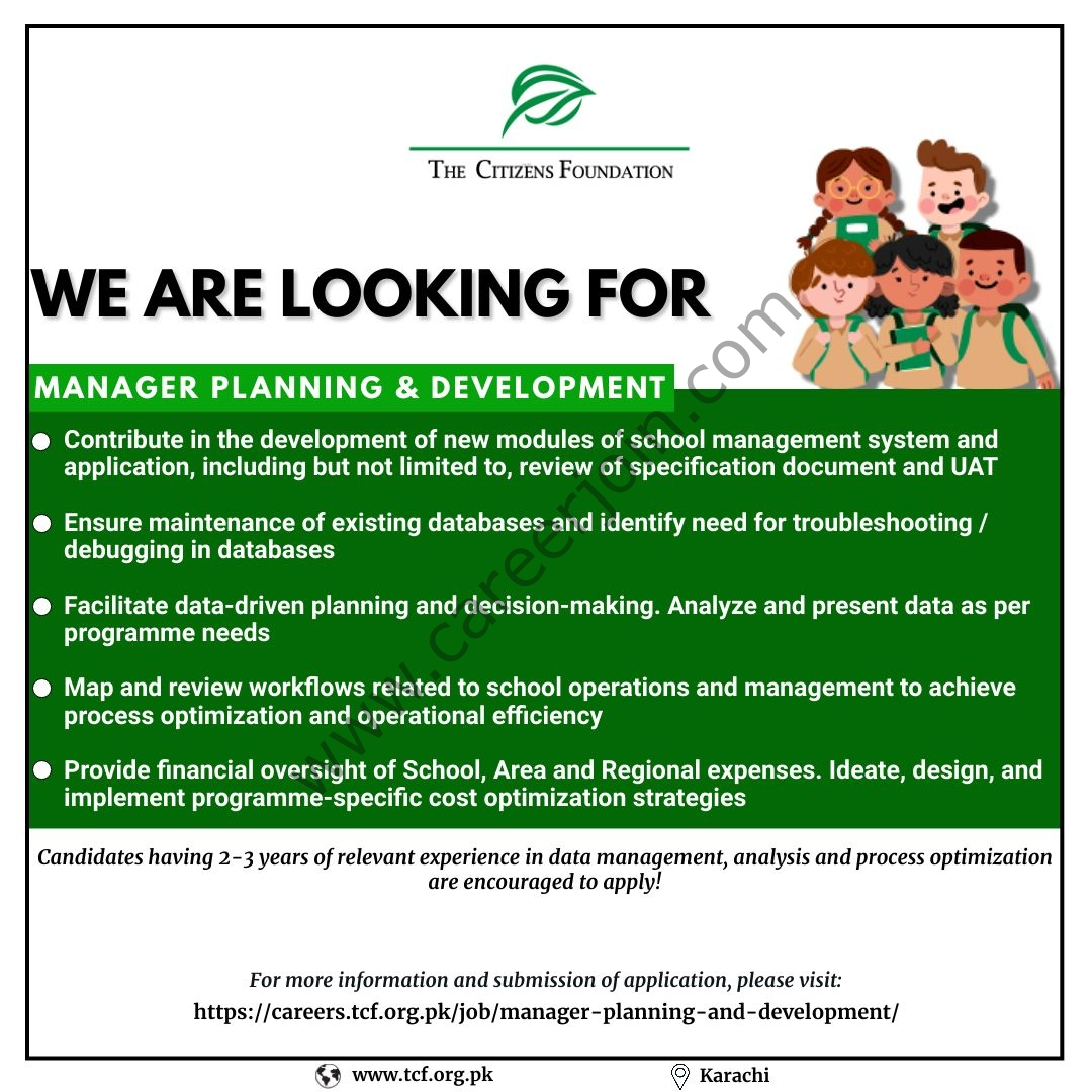 The Citizens Foundation TCF Jobs Manager Planning & Development