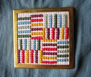 Floss & Fleece: cross-stitch striped pin
